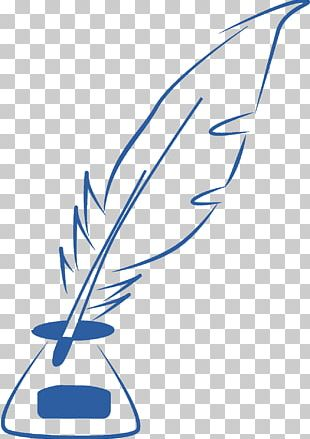 Quill Feather Pen Line Art PNG