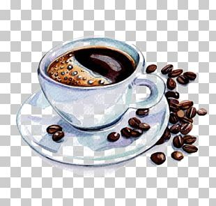 Coffee Cup Latte Cafe Watercolor Painting PNG