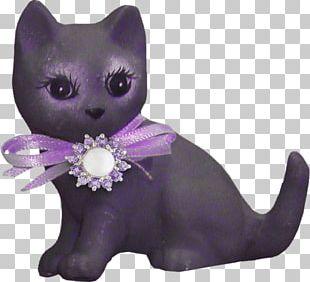 Whiskers Kitten Black Cat Purple PNG