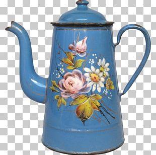 Kettle Mug Ceramic Pottery Cobalt Blue PNG