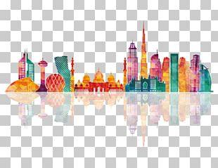 Dubai Abu Dhabi Skyline Silhouette PNG