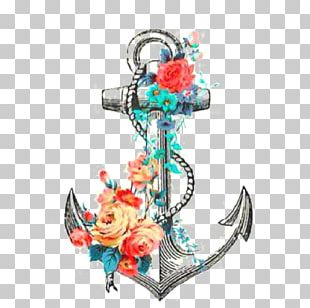Anchor Tattoo Flower Rose Drawing PNG