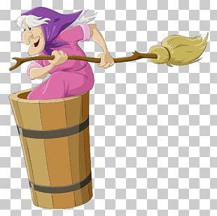 Baba Yaga Broom Witchcraft Illustration PNG