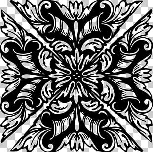 Floral Design Monochrome Drawing PNG