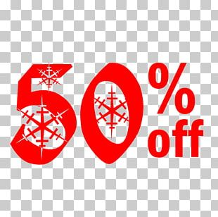 Snow Christmas Sale 50% Off Discount Tag. PNG