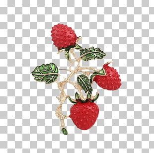Brooch Imitation Gemstones & Rhinestones Pin Strawberry Fruit PNG