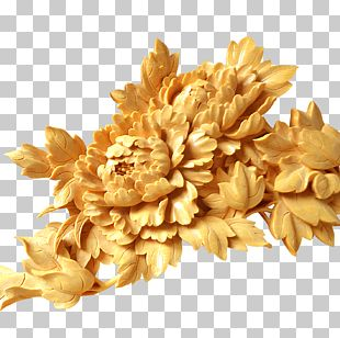 Moutan Peony Wall Wood Carving PNG