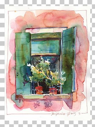 Floral Design Still Life Watercolor Painting Frames Window PNG