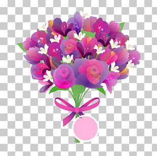 Mothers Day Flower Bouquet Greeting Card PNG