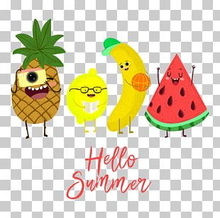 Summer Fruit Watermelon Banana Pineapple PNG