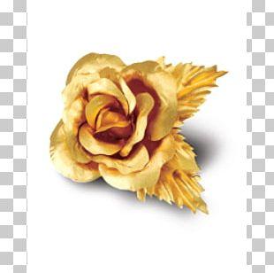 Gold Leaf Carat Flower Brooch PNG