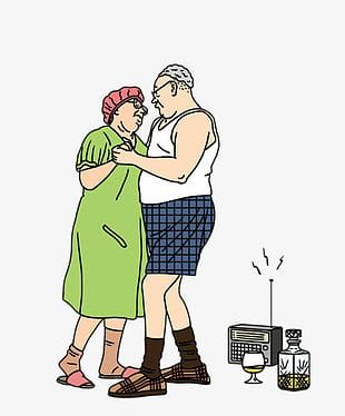 Dancing Old Couple PNG