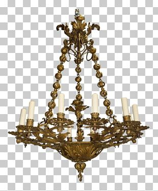 Chandelier Wrought Iron Crystal Brass PNG