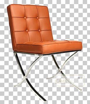 Barcelona Chair Cognac Eetkamerstoel Fauteuil PNG