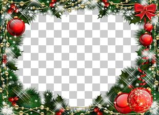 Christmas Frame Balls Mistletoe PNG