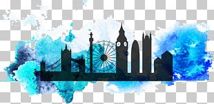 London Eye New York City Watercolor Painting PNG