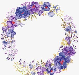 Beautiful Purple Painted Flowers PNG