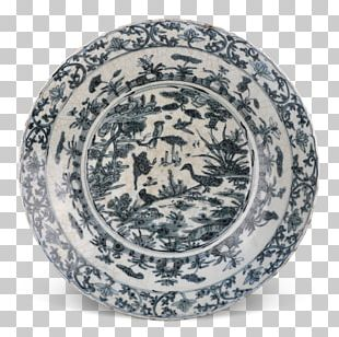 Plate Blue And White Pottery Tableware Ceramic Kraak Ware PNG