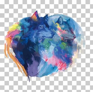 Gray Wolf Watercolor Painting Drawing Digital Art PNG