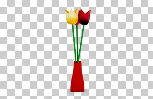 Tulip Petal Plant Stem Vase PNG