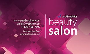 Beauty Parlour Business Card Visiting Card Template PNG