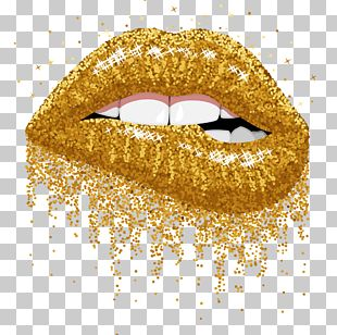 Lip Gloss Glitter Gold PNG
