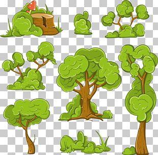 Cartoon Shrub Tree Illustration PNG