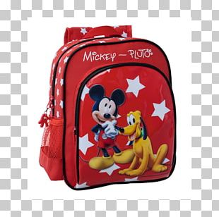 Mickey Mouse Pluto Minnie Mouse Backpack Red PNG