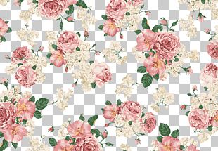 Retro Hand Painted Roses Background Shading PNG