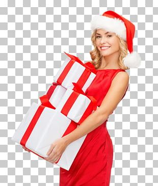 Santa Claus Gift Christmas Woman With A Hat PNG