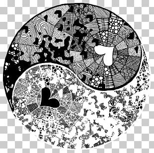 Yin And Yang Black And White Art Painting PNG