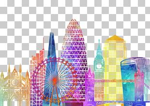 London Watercolor Painting Poster Stock Photography PNG