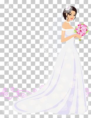 Bride Contemporary Western Wedding Dress Flower PNG