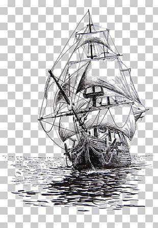 Drawing Sailing Ship Pencil Sketch PNG