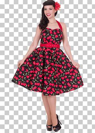 1950s Dress Polka Dot Clothing Halterneck PNG