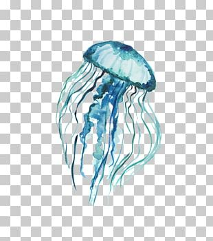 Blue Jellyfish Printing Art Watercolor Painting PNG