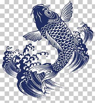Koi Goldfish Japan Painting PNG