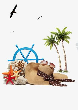 Summer Beach Background Material PNG