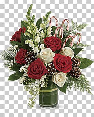 Garden Roses Flower Bouquet Candy Cane Floral Design Teleflora PNG