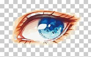 Eye Blue Watercolor Painting PNG