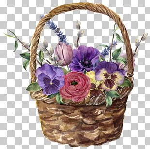 Floral Design Watercolor Painting Flower Basket PNG