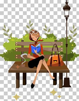 Woman Reading Illustration PNG