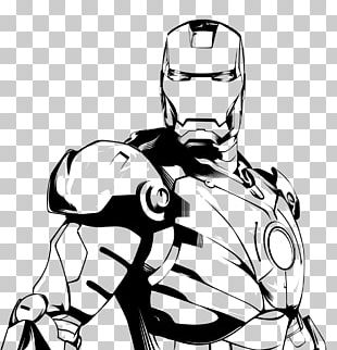 Iron Man Black And White Drawing Line Art PNG