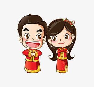 Cartoon Bride And Groom PNG