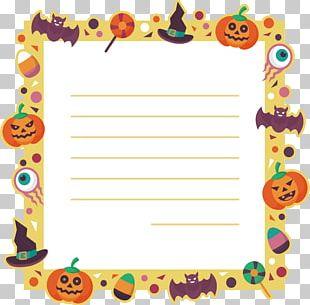 Cartoon Border Halloween Message Card PNG