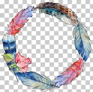 Bird Feather Wing Watercolor Painting Circle PNG