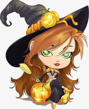Halloween Cartoon Witch PNG
