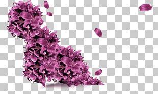 Purple Flower Petals Flying Decorative Pattern PNG