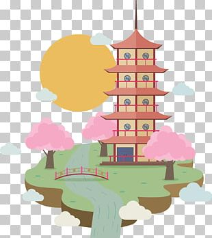 Japan Temple Illustration PNG
