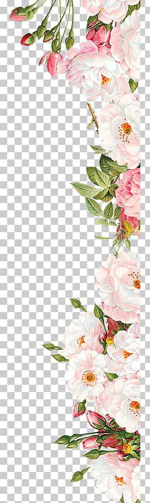 Pink Flowers Wedding Invitation PNG